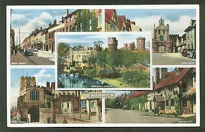 WARWICK.  Pull out postcard with 12 Little pictures.