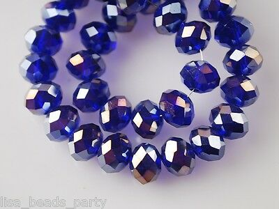 Bulk 20pcs 12mm Rondelle Faceted Loose Spacer Crystal Glass Beads Royal Blue AB