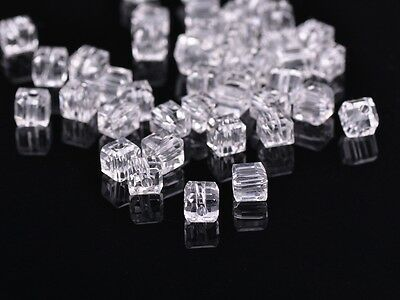 50pcs 4mm Cube Square Faceted Crystal Glass Findings Loose Spacer Beads Clear