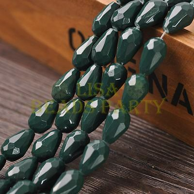 New Arrival 10pcs 16X10mm Teardrop Faceted Loose Spacer Glass Beads Deep Green