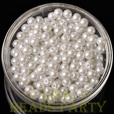 Hot 50pcs 6mm Round Glass Pearl Loose Spacer Beads Jewelry Making Pure White