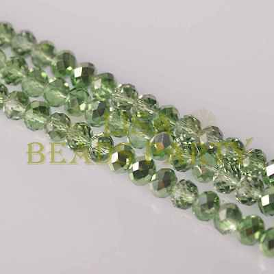 New! 50pcs 8X6mm Faceted Rondelle Charms Loose Glass Spacer Beads Light Green