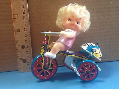 Wind Up Tin Toy Girl On Tricycle Revolving Bell Made In Korea