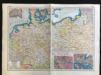 Vintage Map 1920, Germany - Harmsworth's Atlas
