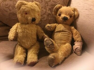 Boogie & Boo - Chad Valley Old Gold Antique, Vintage Teddy Bears with Labels tlc