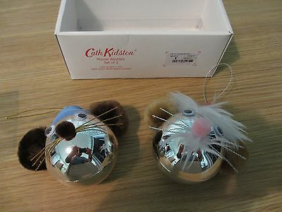 Cath Kidston mouse baubles set of 2
