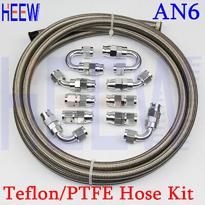 AN6 Stainless Braided Teflon OIL FUEL Line E85 PTFE Hose+fitting End Adaptor 5M