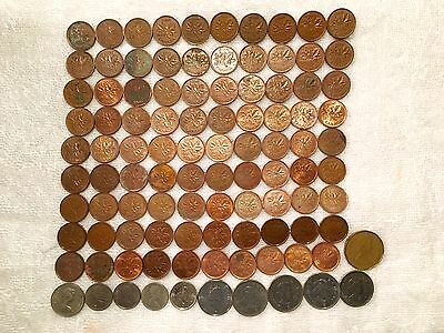 Canadian Coins Lot - $3.60 Face Value, Cents, Nickels, Dimes, Quarters, Dollar
