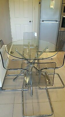 Glass And Chrome Dining Table  With 4 Chairs