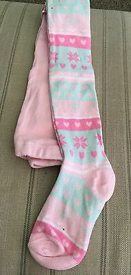 Girls Tights New Age 7-8 Years Pink Hearts Snowflakes