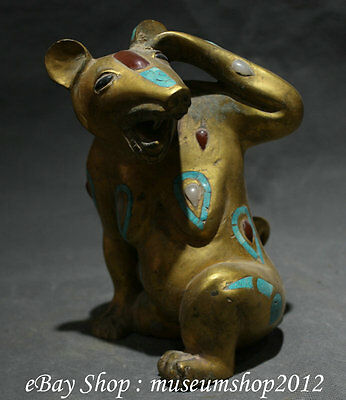 """7"""" Antique Chinese Dynasty 100% Bronze 24K Gold Gilt Family Mouse Mice Sculpture"""