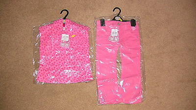 girls pink flower patern hoodie and jeans age 3/4 98/104cm