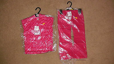girls red flower patern hoodie and jeans age 3/4 98/104cm