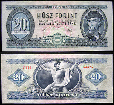 Hungary 20 Forint 1975 Unc Banknote (P169)