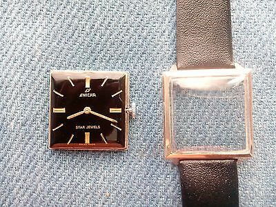 Enicar Star jewels winding watch Swiss made black square dial