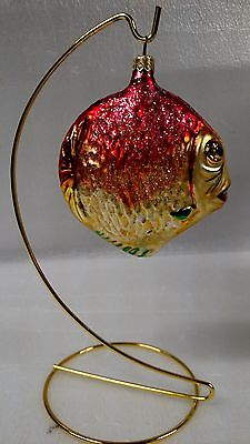 Christopher Radko Ornament Glittery Hand Blown Glass Tropical Fish Yellow/Pink
