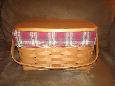 Longaberger 1997 Cake Basket Set with Lid - Orchard Park Plaid