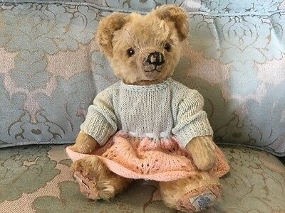 Lizzie - Antique Vintage, Old Mohair Teddy Bear - Rare Two Chad Valley Labels