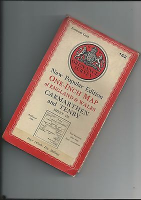 OS New Popular Edition Map CARMARTHEN and TENBY 152 cloth 1947