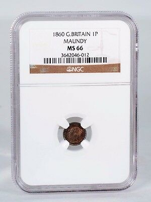1860 Great Britain 1P Maundy  NGC MS-66 Finest Graded
