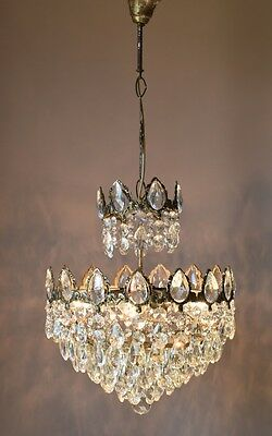 Opulent Antique Fixture French Vintage Crystal Chandelier Lamp Home Old Lighting