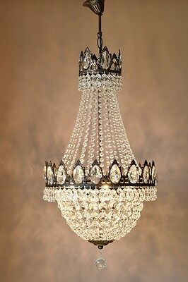 Ornate Bronze Antique French Vintage Crystal Chandelier Lamp Home Old Lighting
