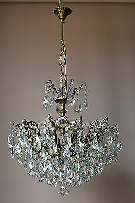 SALE ANTIQUE FRENCH VINTAGE 1950's CRYSTAL CHANDELIER LAMP OLD HOME LIGHTING