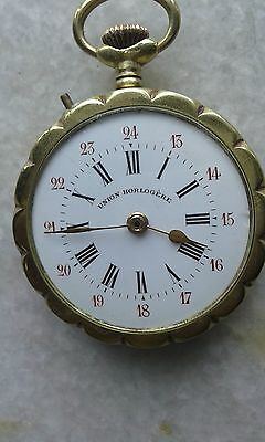 Union Horlogere Winding Pocket Watch Porcelain dial Brass body