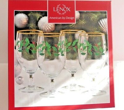 Lenox Holiday Iced Beverage Water Glasses, set of 4