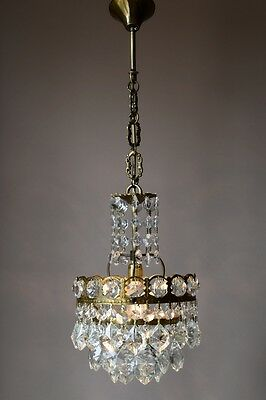 VINTAGE Mini Antique French Pendant Crystal Chandelier Lamp HOME LIVING Lighting
