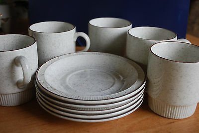 5 poole cups and saucers