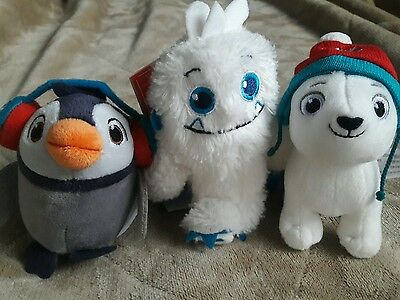 Lot of 3 Hallmark North Pole Plush Christmas Tree Ornaments Penguin Dog Monster