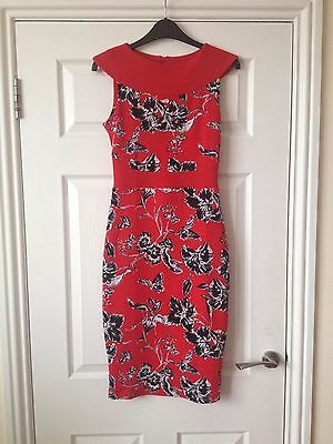 Beautiful Red Floral Bodycon Knee Length Dress Size 8 10 Vesper