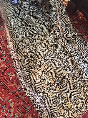 Linsey-Woolsey Coverlet Early 20th Century 8'x60""
