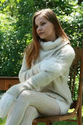 ANGORA CARDIGAN & SWEATER with MOHAIR SHORTS & MITTENS