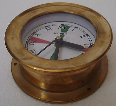 U.S. Navy BRASS Marine RADIO ROOM wall Clock - 100% SATISFACTION - ROMAN Letters