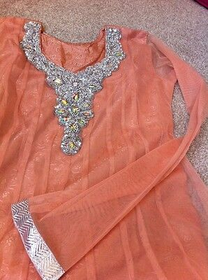 Peach & Silver Anarkali Suit - Size 10 - Brand New