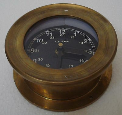 U.S. Navy BRASS Marine Wall Clock - LIttle & Very Nice - Black Dial