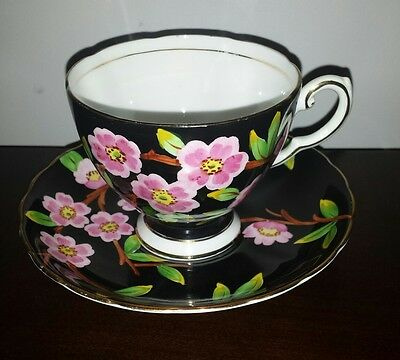 Vintage Tuscan Fine Bone English China Tea Cup & Saucer Black with Pink Flowers