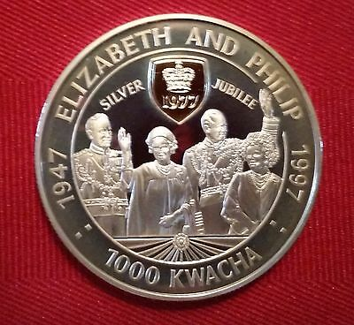 1997 SILVER PROOF ZAMBIA 1000 KWACHA COIN 22ct GOLD CAMEO