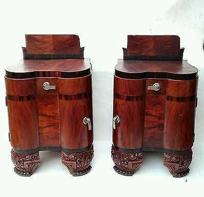 AMAZING Rare Antique French Art Deco Pair Nightstands Burl Walnut Bedside c1930