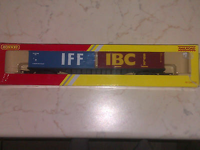Hornby R6425 Container Wagon 2 x 30ft IFF & IBC OO gauge - New FREEPOST