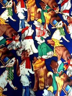 Vintage Fashion fabrics quilting cotton Howling Dogs Woof 2 -2 yards 45 in