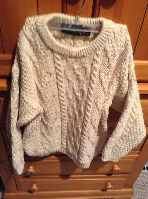 MCKENNAS Cable Ivory  Wool Fisherman Knit Sweater Boy or Girl Size S 8/10 8 10