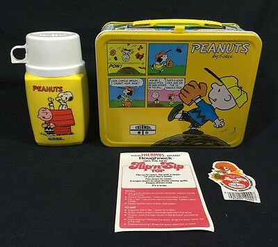 Vintage Nos Peanuts King Seeley 1980 Metal Lunchbox & Thermos