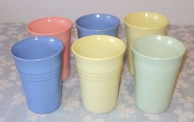 6 Moderntone Colorful Tumblers 1 Pink 2 Yellow 2 Blue 1 Green 1950's & 60's