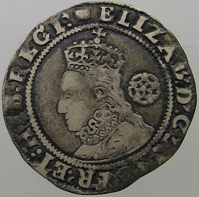 Great Britain Sixpence 1594 Over 3  Elizabeth   #t10 097