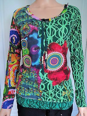 New Desigual Ladies T Shirt 'Marcelle' Green & Multi, Size S