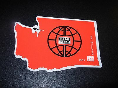 """SUB POP SEATTLE 4"""" WASHINGTON STATE OUTLINE red Sticker Decal pearl jam nirvana"""