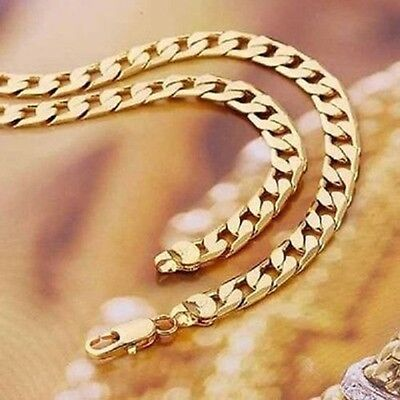 """Real18K Gold Filled Mens/ Ladies Unisex Link Chain Necklace 24""""  Xmas Gift"""